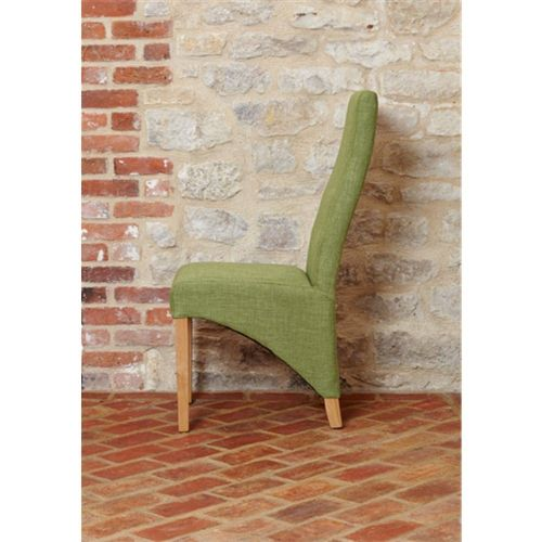 Mobel Oak Full Back Upholstered Dining Chair - Sage (Pack of Two)